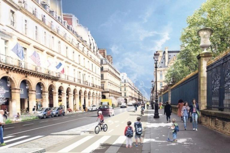 Graphic of cycle route on Rue de Rivoli