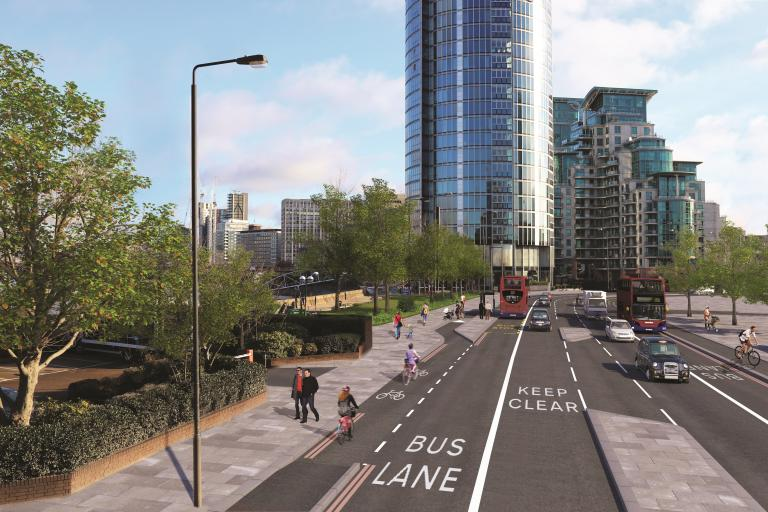 Artist's impression showing a view of Nine Elms Lane towards St George Wharf (TfL).jpg