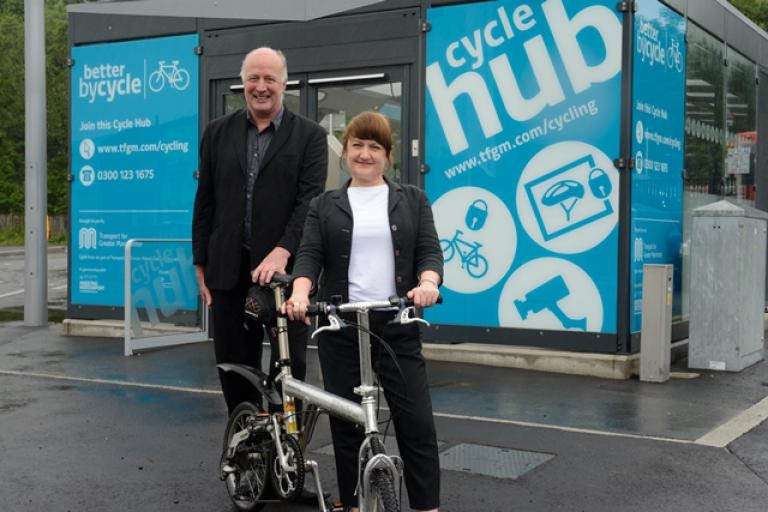Councillors Chris Paul and Kate Butler at the official opening of Stockport Cycle Hub (TfGM).jpg