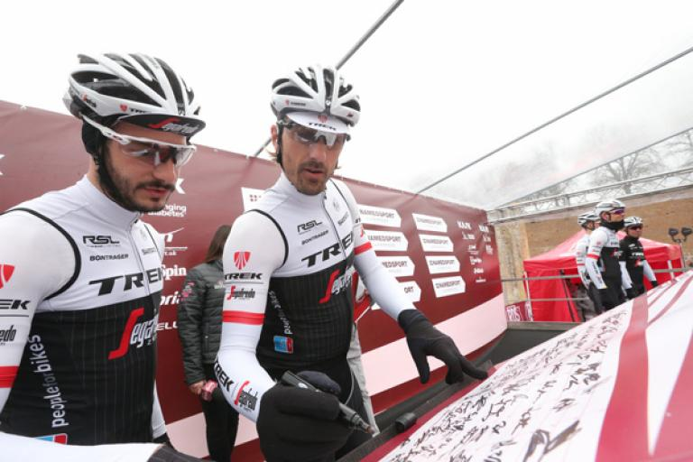 Fabian Cancellara at start of 2016 Strade Bianche (picture ANSA, Peri-Carconi).jpg