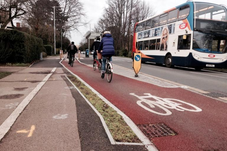 Hills Road separated cycle lane, Cambridge (copyright Simon MacMichael).jpeg