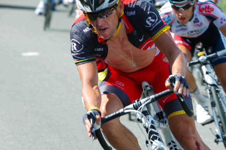 Lance Armstrong after crashing on Stage 8 of the 2010 Tour de France © PhotoSport International.jpg