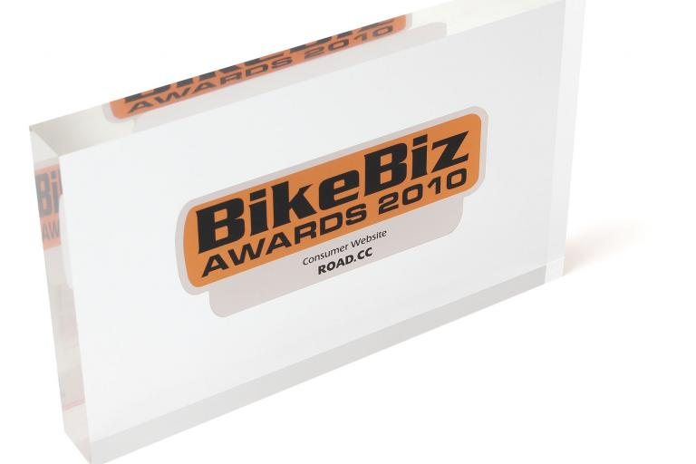 BikeBiz award on white