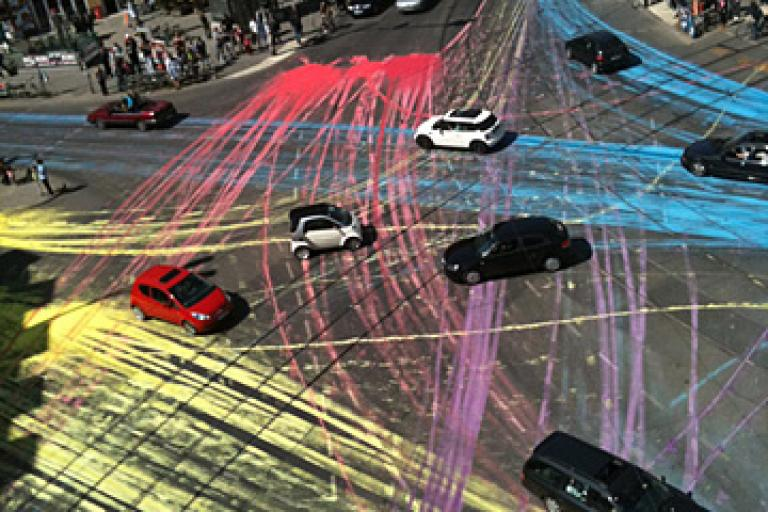 Industrial Decorating:  Berlin-Based Cyclists Spread Non-Permanent Paint on the Road to Create a Car-Based Art Installation