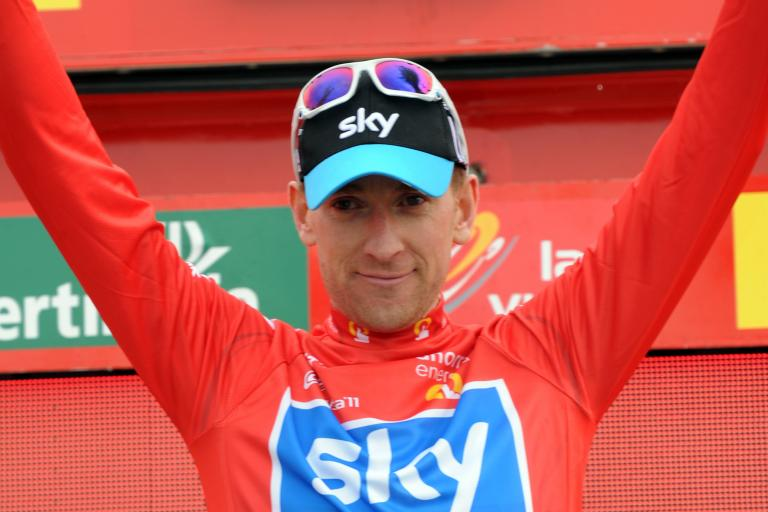 Bradley Wiggins in the Vuelta red jersey (copyright: Tour of Spain/Graham Watson).jpg