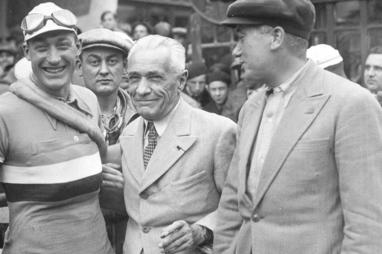 Gino Bartali, Tour founder Henri Desgrange and Maurice Garin (picture courtesy Le Coq Sportif)
