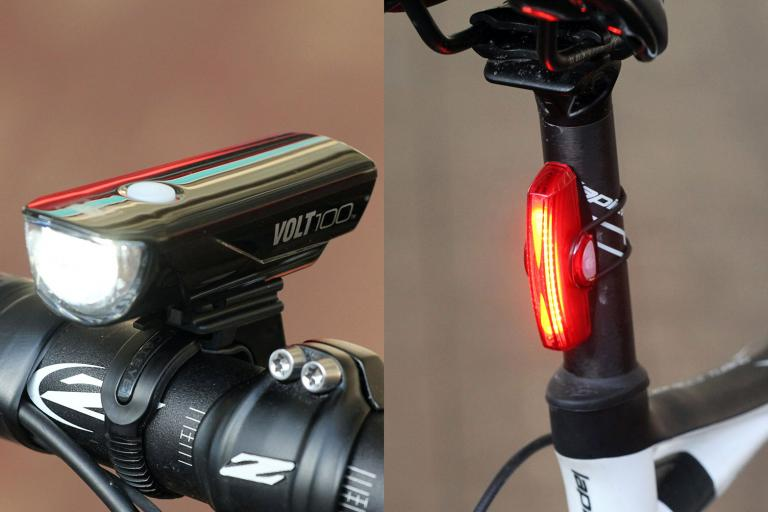 Cateye Volt 100 front light and Rapid X rear light