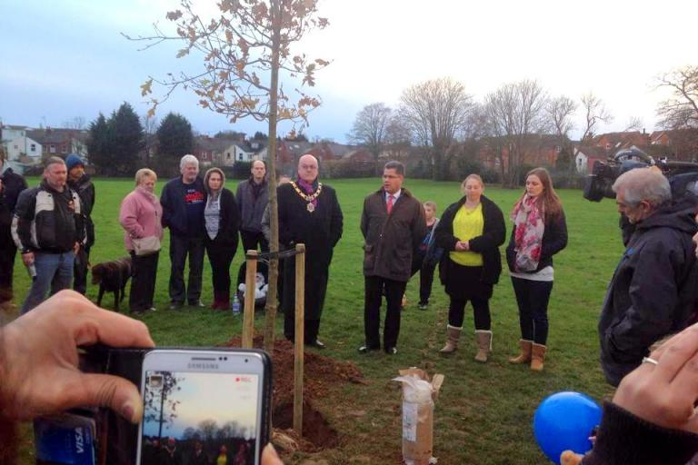 A tree is planted in memory of Kris Jarvis and John Morland (Justice for Kris Jarvis and John Morland Petition:Facebook)