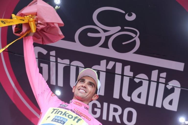 Alberto Contador in maglia rosa after Stage 5 of 2015 Giro d'Italia (picture ANSA, Dal Zennaro)