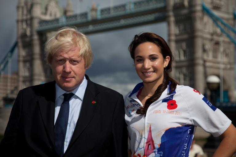 Boris Johnson and Laura Wright launch Pedal to Paris 2011.jpg