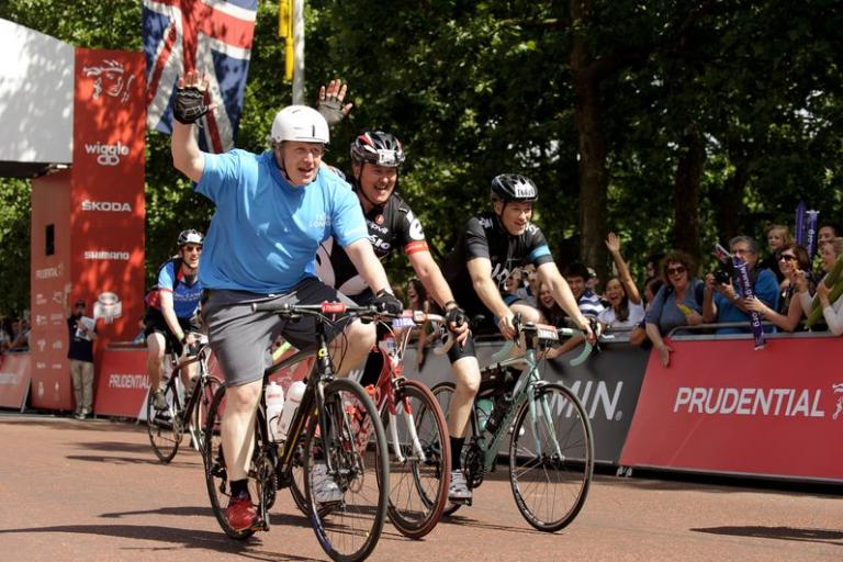 Boris Johnson finishes inaugural Prudential RideLondon 100