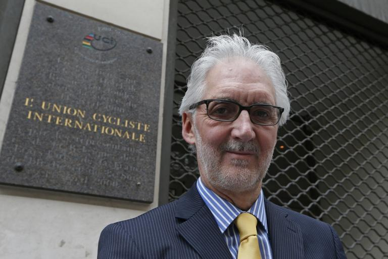 Brian Cookson at the site in Paris where the UCI was founded (source Brian Cookson Images, Flickr)