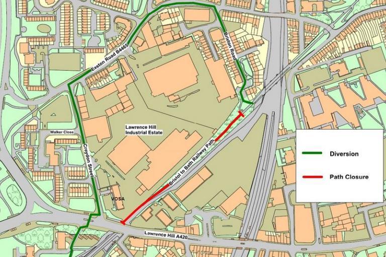 Bristol and Bath Railway Path diversion, Berkeley House (source Bristol City Council)
