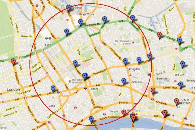 Central London cyclist fatalties, 2001-12 (source I Cycle Liverpool)