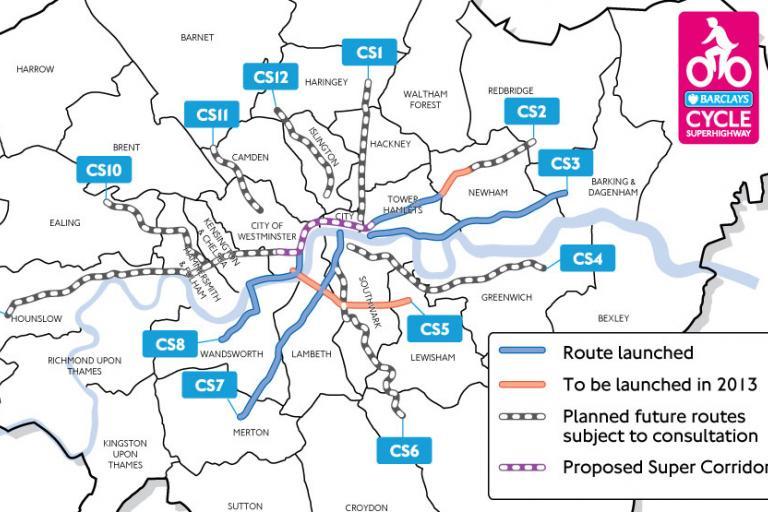 Cycle Superhighway Map inc Super Corridor