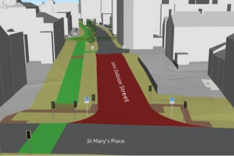 Cycle path plans for John Dobson Street in Newcastle