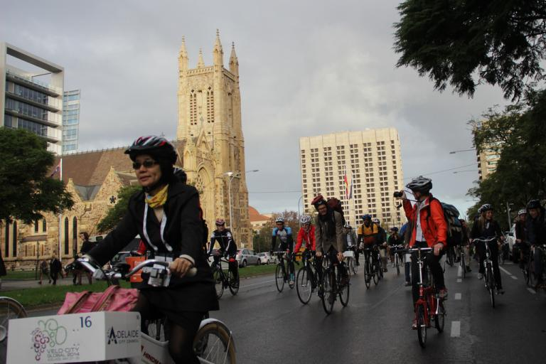 Cyclists in Adelaide during Velo-City 2014 (picture credit European Cyclists' Federation on Flickr)
