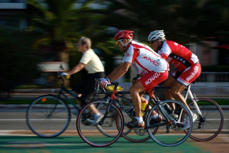 Cyclists on the Promenade des Anglais, Nice (copyright Simon MacMichael)