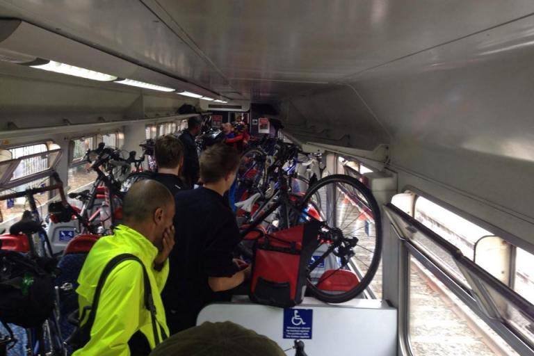 Dunwich Dynamo bikes on train