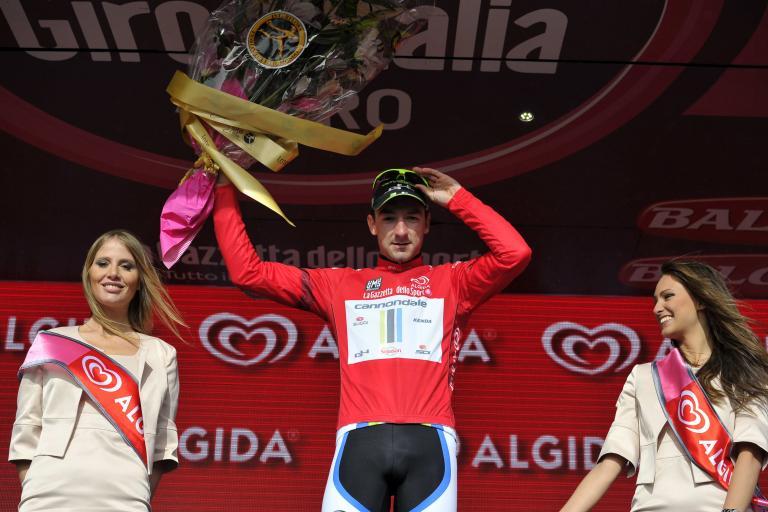 Elia Viviani in Giro d'Italia points jersey 2014 (picture credit Marco Alpozzi, LaPresse)