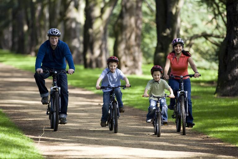 Family on bikes enjoying the gardens at Clumber Park Nottinghamshire 1.JPG