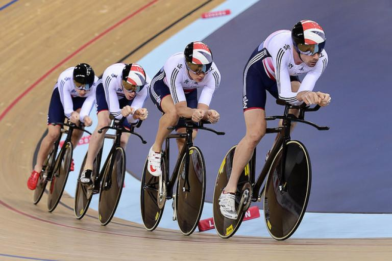 Great Britain Men's Team Pursuit, London World Cup 2014 (picture Alex Broadway, SWPix.com)