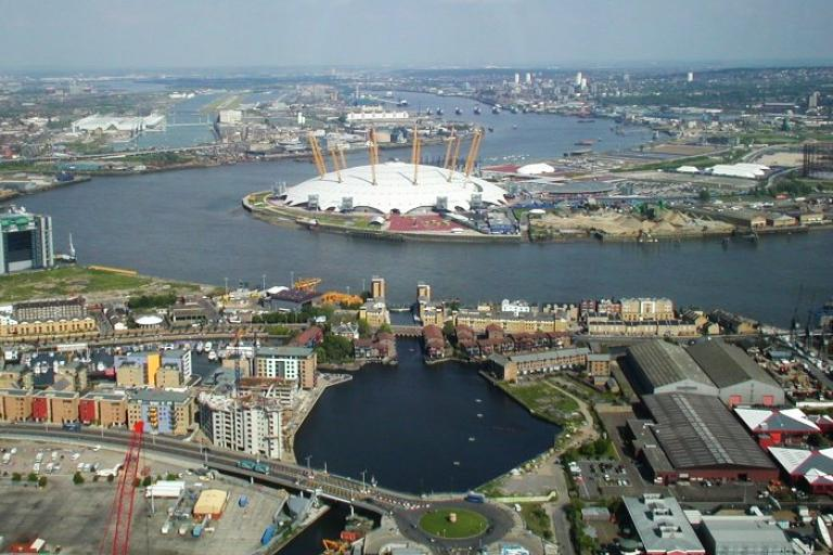 Greenwich Peninsula (licensed CC BY SA 3.0 on Wikimedia Commons by James Gibbon)