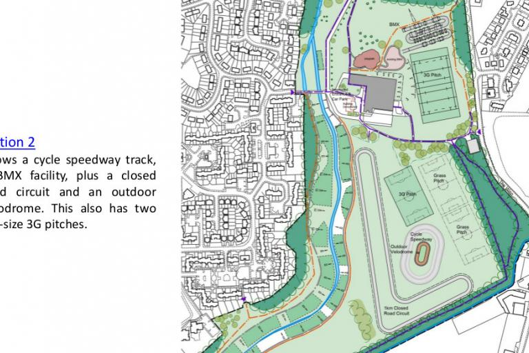 The 'full set' option for Hunter's Hall Park with velodrome, road circuit, BMX track and cycle speedway track