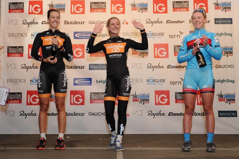 IG London Nocturne Rapha Elite Women's Criterium podium 2013 (picture Dan Rowley:REX)
