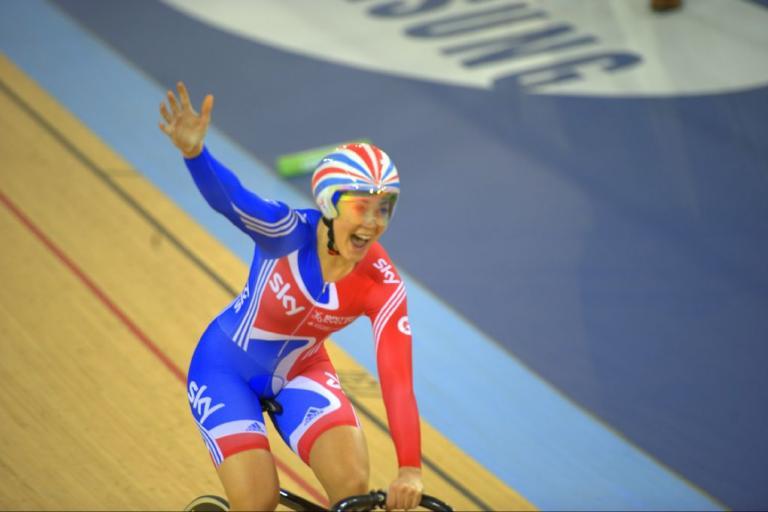 Jess Varnish celebrates a gold medal and  world record (© Dene Percy)