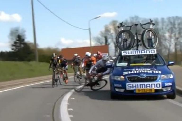 Jesse Sergent knocked off bike at Tour of Flanders (YouTube still)