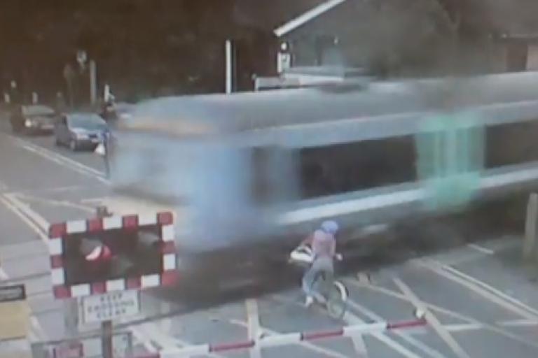 Level crossing near miss Sep 2013 BTP YouTube still