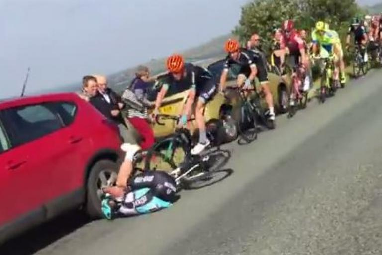 Mark Cavendish crashes out of 2015 Tour of Britain (video still from Jon Poole on YouTube)