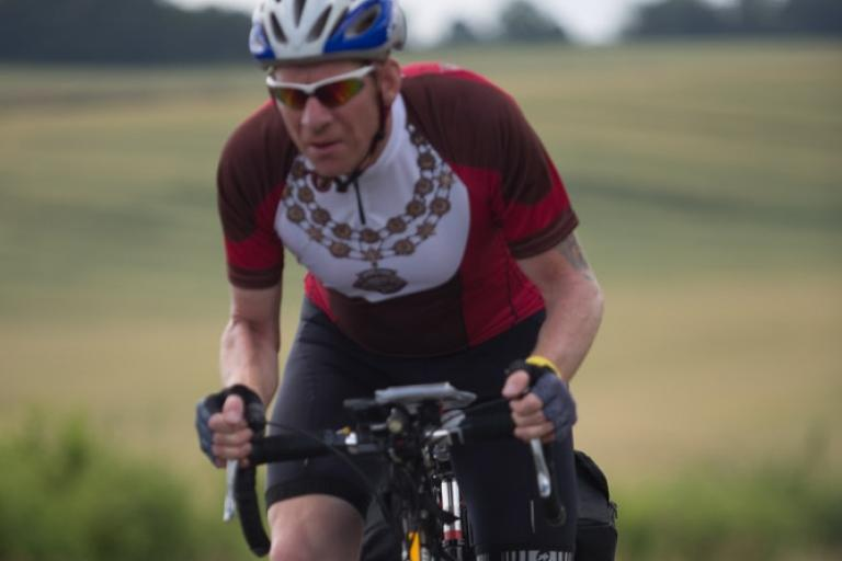 Martyn Bolt cycling during his Mayoral term of office