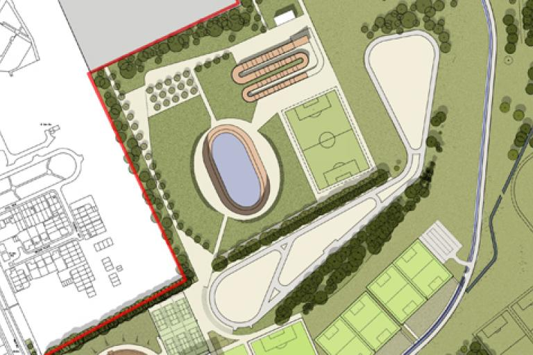 Middlesbrough outdoor velodrome aerial plan (source British Cycling)