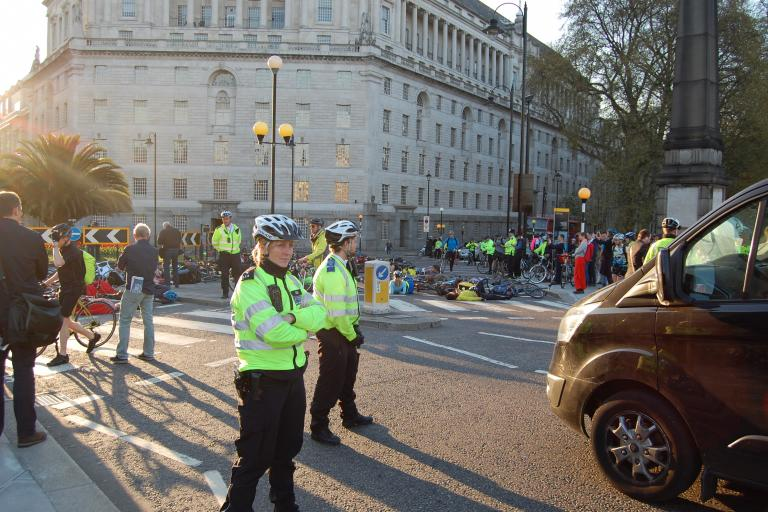 Millbank Die-in bike police