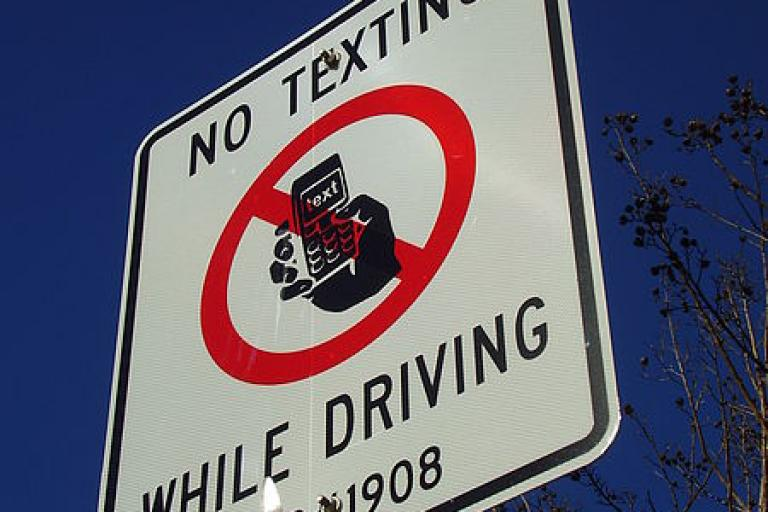 No Texting While Driving sign, Houston, texas