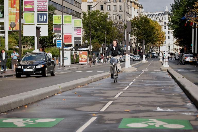 Paris Velib rider and cycle lane