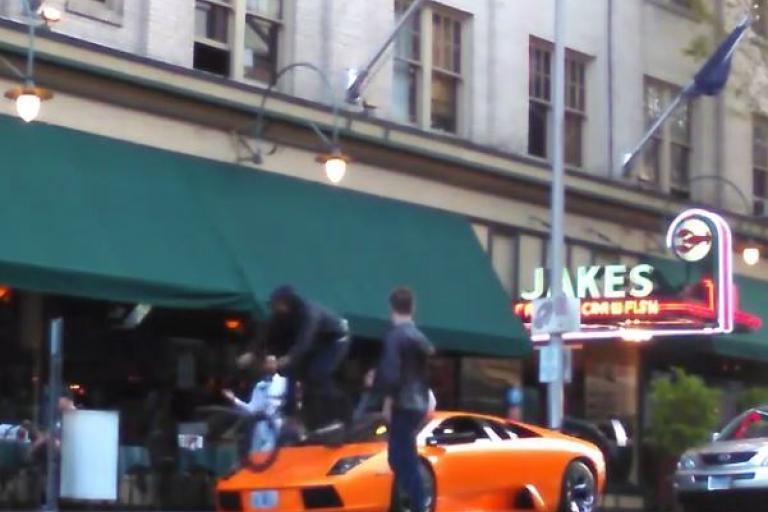 Riding over a Lamborghini (source Josh Navarro on Instagram)