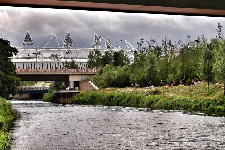 River Lea and Olympic Stadium (copyright Simon MacMichael)