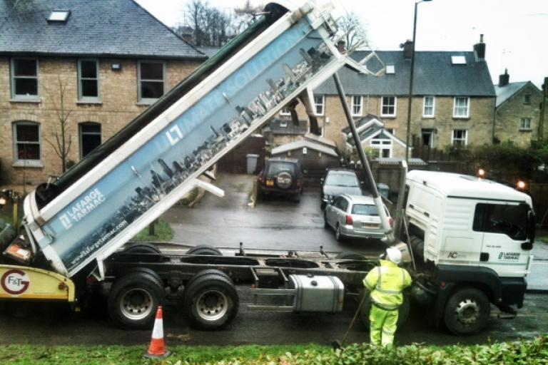 Road resurfacing (copyright Simon MacMichael)
