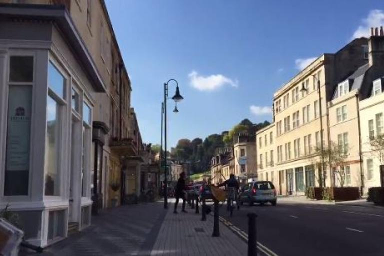 Road sign pushed into Bath cyclist (picture Ben Baldwin on Twitter)