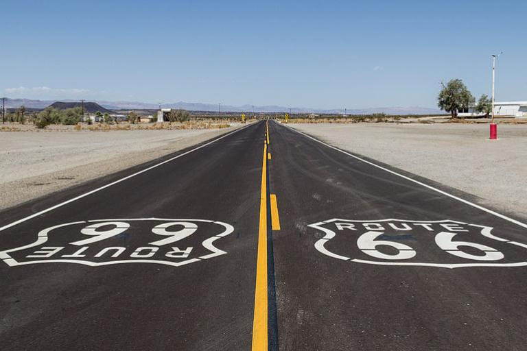 Route 66 at Amboy, California, licensed by Dietmar Radich under CC BY-SA 4.0