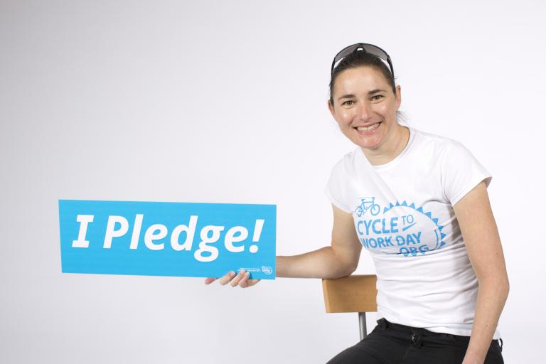 Dame Sarah Storey pledging to ride to work on September 4 (image via Cyclescheme)