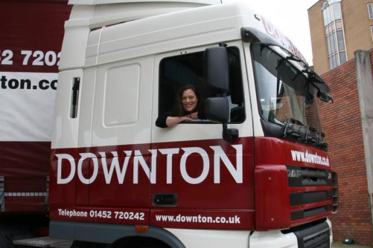 Sarah Barth in a lorry 2