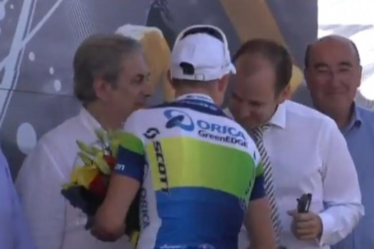 Simon Gerrans TDF podium (Orica GreenEdge YouTube still)