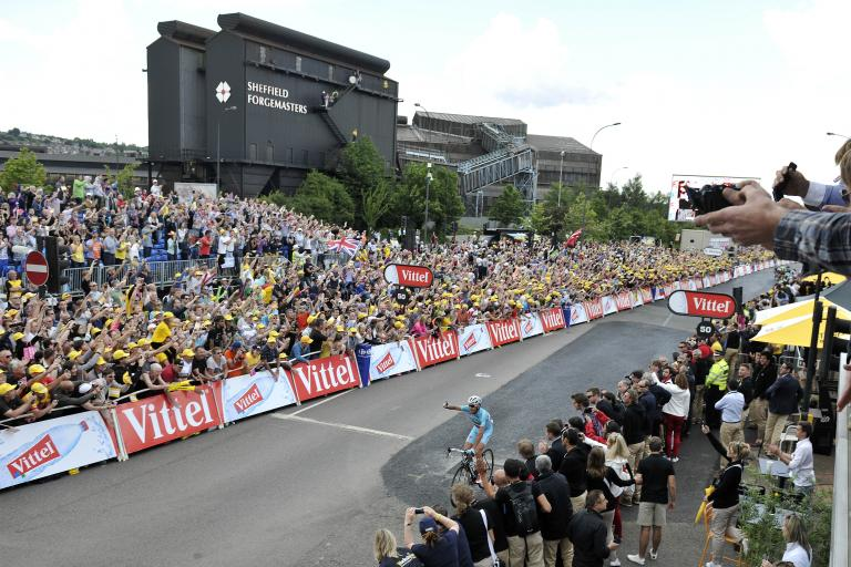 TdF 2014 Vincenzo Nibali after winning in Sheffield (picture credit Welcome to Yorkshire)