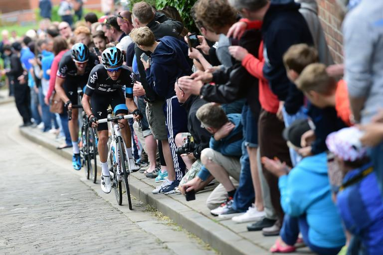 Team Sky's Peter Kennaugh and Ian Stannard lead the British national championship race up the gutter on Lincoln's Michaelgate (Alex Broadway:SWpix.com)