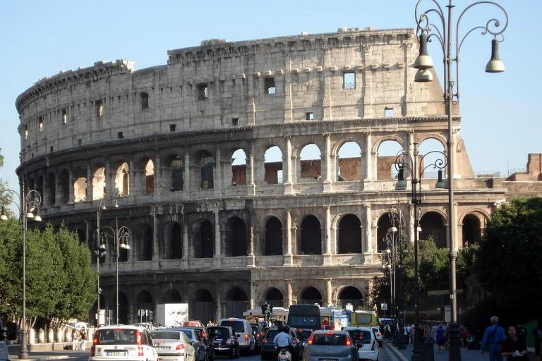 The Colosseum from the Via dei Fori Imperiali (creative commons licensed by mag3737:Flickr)