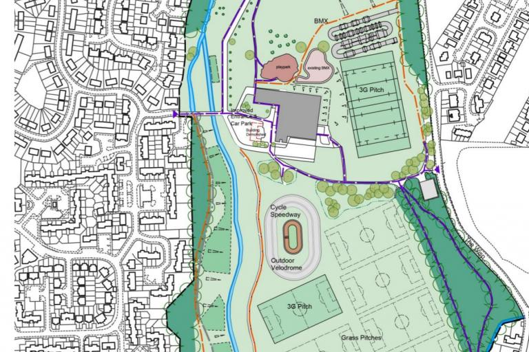 The chosen option for Hunter's Hall Park has no road circuit